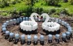 Поделки из пластиковых бутылок для сада: улей, овечка и лебедь