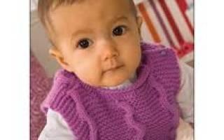 Жилетка для новорожденного спицами: пополняем гардероб милой крошки