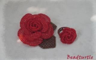 Ажурная роза из бисера: украшаем одежду и предметы интерьера