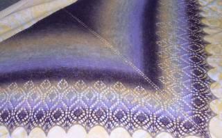 Белая шаль крючком с описанием техники вязания