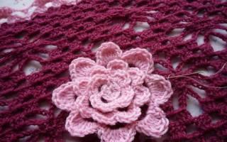Цветок спицами: схемы с описанием техник вязания