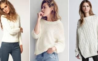Белый вязаный свитер: пушистая обновка своими руками