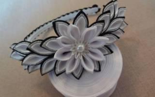 Обруч для волос своими руками из бисера, цветов и лент из атласной ткани