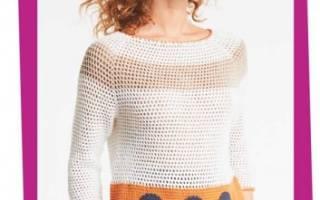Свитер крючком (женский и мужской): интересные модели из модных журналов