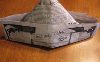 Шапка из газеты для ремонта: модель с козырьком