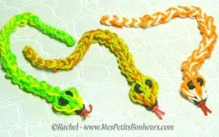 Как сплести из резинок змею разными способами