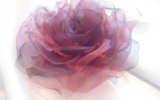 Цветок из фатина: несколько вариаций по созданию воздушных украшений