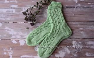 Ажурные носки спицами: подробное описание вязания на 2, 4 и 5 спицах