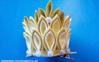 Мастер-класс по короне канзаши в миниатюрном и большом исполнении