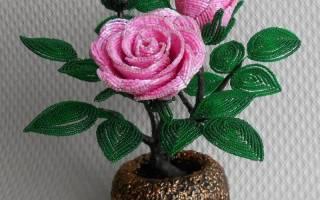Роза из бисера: учимся плести нежный цветок