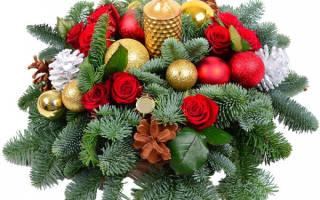 Поделка новогоднего букета вместо елки своими руками с помощью хвойных веточек