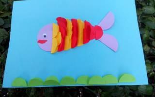 Аппликация из кругов цветной бумаги для детского конкурса