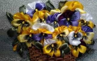 Анютины глазки канзаши: изготовление заготовки для заколок и не только