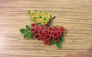Картина из бумаги: магнит и цветы в технике квиллинг