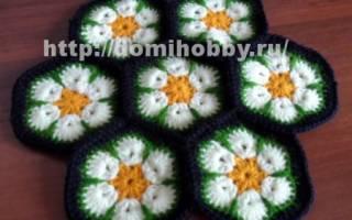 Африканский цветок крючком со схемами: оригинальные идеи для вязания