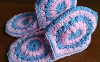 Тапочки из шестиугольников крючком со схемой для уюта в вашем доме